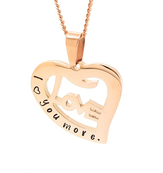 Coorabell Crafts Rose Gold Love Heart pendant, Inscribed I love you more.  Stylish Gift box included