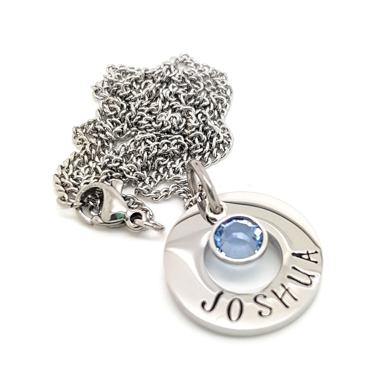 Small Birthstone Necklace Silver Name Pendant Personalised