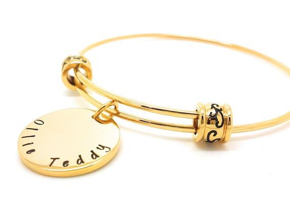 Personalised Bangle Bracelet  Gold Bangle Charm Name Bangle Personalised Bangle Disk Charms Gift for Mum Handstamped Name