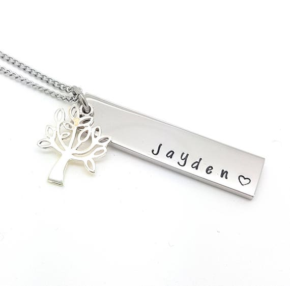 Personalised Jewellery, Personalised Necklace, Family Necklace, Rectangle Bar Necklace with Sterling Silver Tree of Life Charm