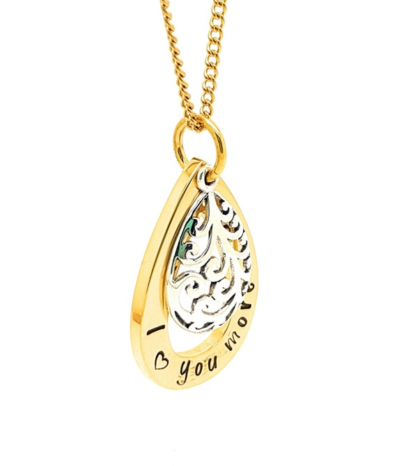 "Gold teap drop pendant ""I love you more"" necklace filigree Silver charm"
