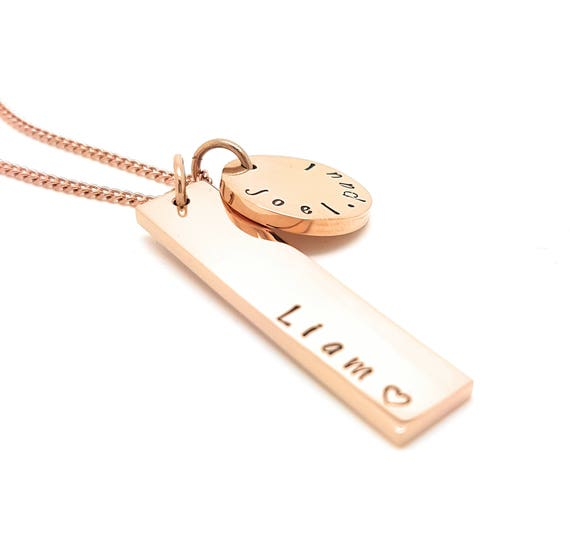 Personalized Jewellery, Personalized Necklace, Family Necklace, Hand Stamped Rose Gold  Rectangle Tag Pendant with  Disk, Mothers Necklace