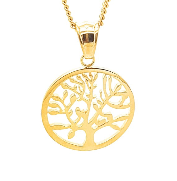 Coorabell Crafts Gold Tree of Life Circle pendant representing Growth. Childs Teacher, Appreciation Gift, Stylish Gift Box
