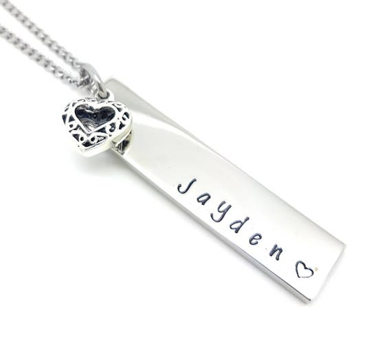 Rectangle Bar Necklace with Sterling Silver filigree love heart Charm Personalised Jewellery, Personalised Necklace,  Unique gift Idea