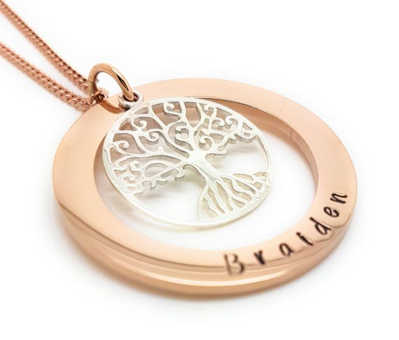 Family Names Tree of Life Pendant Personalised Jewellery Hand Stamped Name Necklaces Rose Gold Family Name Pendants Tree Life Gift Australia