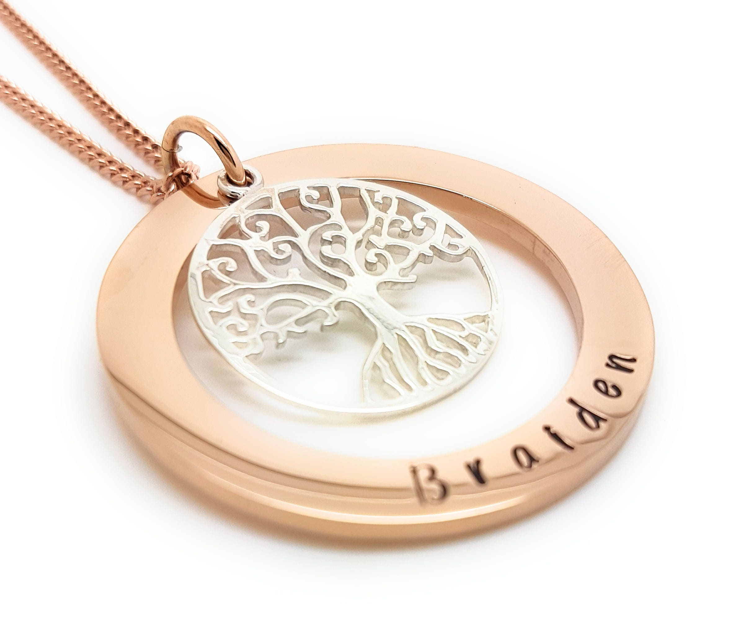 Family names tree of life pendant personalised jewellery hand family names tree of life pendant personalised jewellery hand stamped name necklaces rose gold family name pendants tree life gift australia aloadofball Gallery