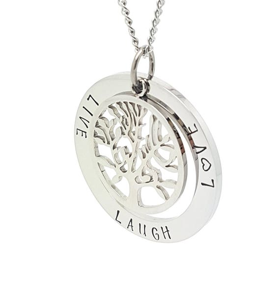 Large Hand Stamped Silver Pendant with Silver Large Tree of Life Charm  & Necklace - Unique gifts for Mum - Present for Friends