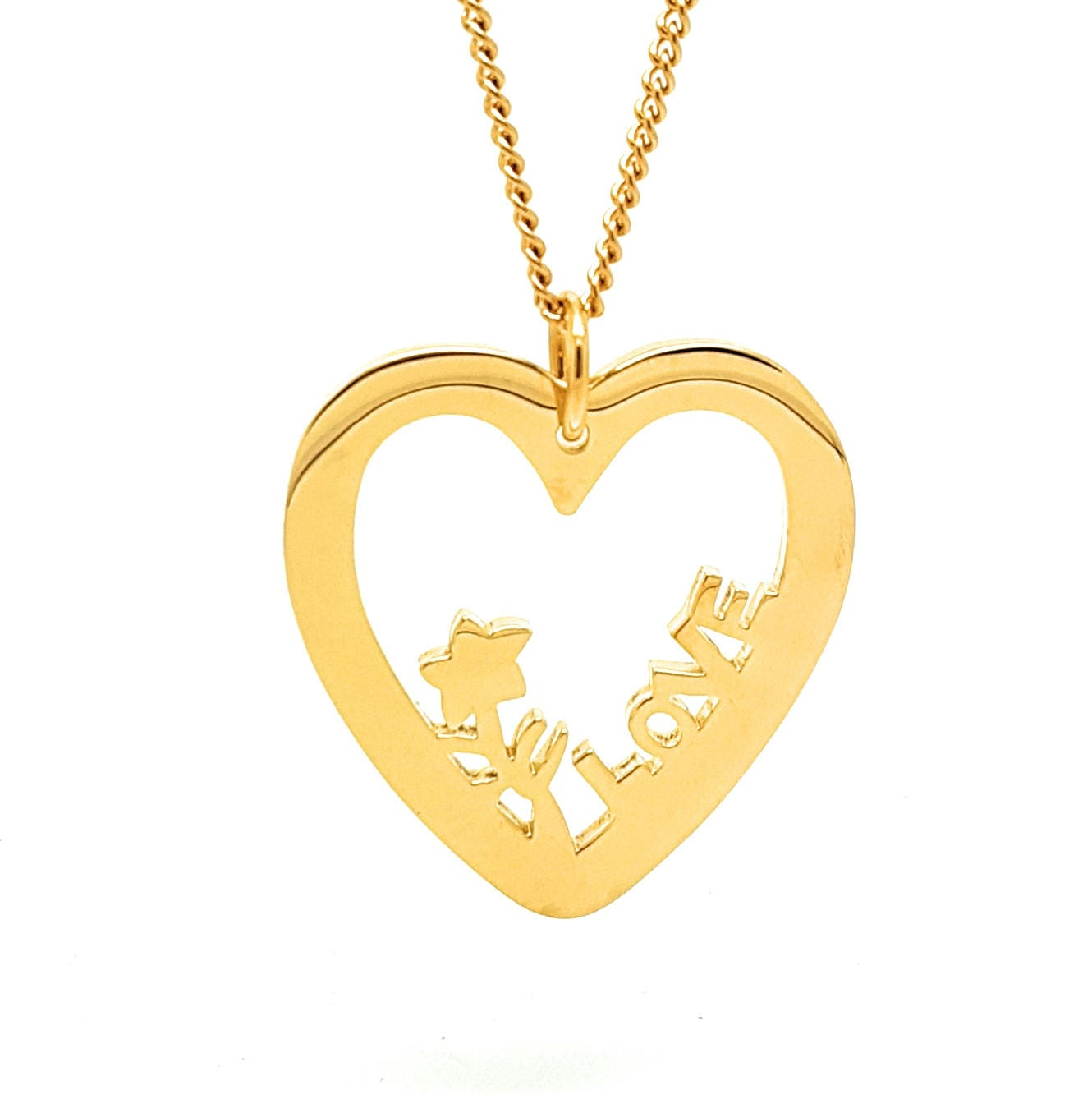 Coorabell Crafts Gold Love Heart Pendant With Necklace Flower And