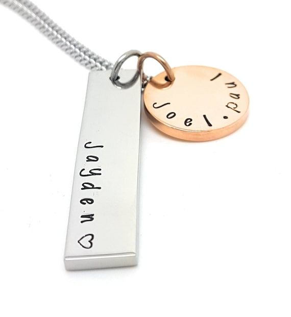 Rectangle Names Family Necklace Silver Rectangle with Rose Gold 19mm Disk, Customised Own Names. Hand Stamped / Engraved