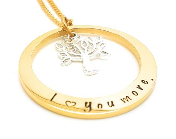 Hand Stamped Gold Names necklace with sterling Tree of Life Customise personal Family Necklace