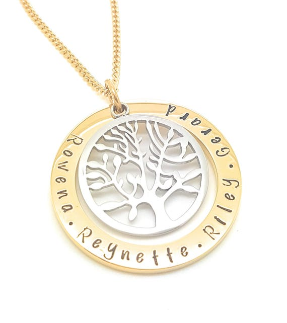 Hand Stamped Gold Names necklace with large tree of life charm, Customise personal Family Necklace, Coorabell Crafts Gift Box Included,