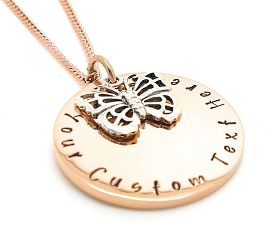 Hand stamped Rose Gold circle pendant necklace with butterfly sterling silver charm