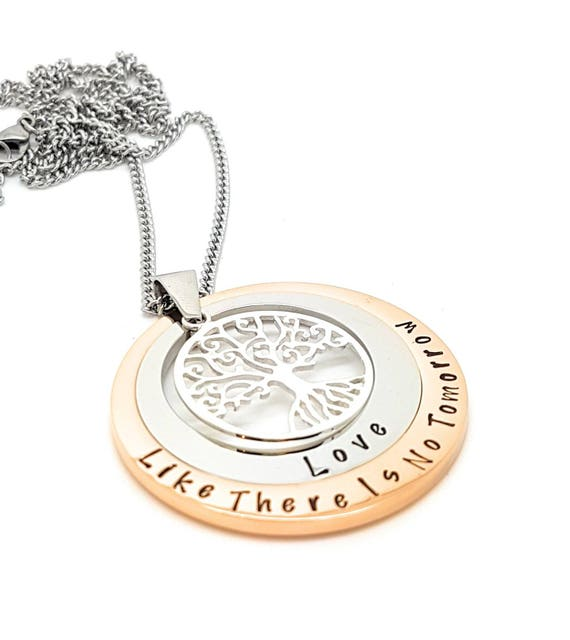 Layered Family Names Tree of Life Pendant Personalised Jewelry Hand Stamped Name Necklaces Rose Gold Family Pendants Tree of Life Australia