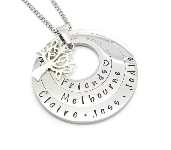 Hand Stamped Necklace Personalized Necklace Hand Stamped Jewelry Personalized Jewelry Handstamped Necklace Mothers Necklace triple layered