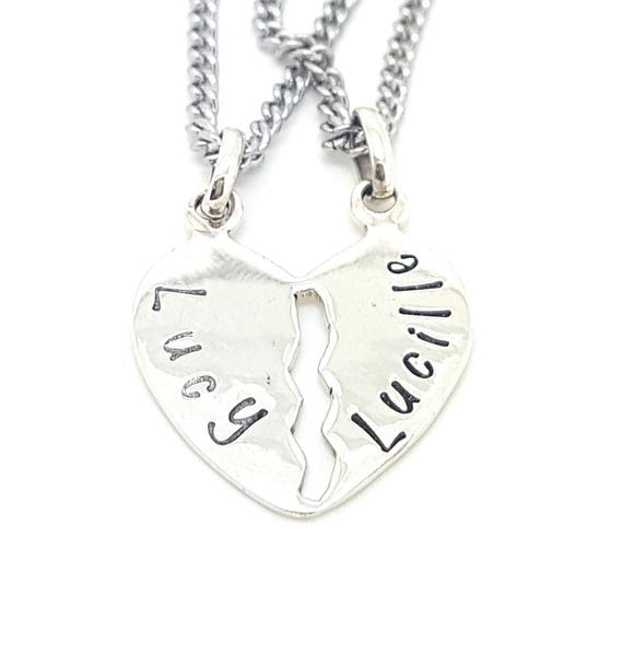 Personalised Jewellery, Personalised Necklace, Family Necklace, Hand Stamped heart BEST FRIENDS sterling silver necklace