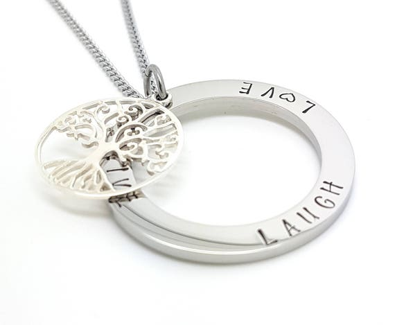 Family Names Tree of Life Pendant Personalised Jewellery Hand Stamped Name Necklaces Silver Family Name Pendants Tree of Life Gift Australia