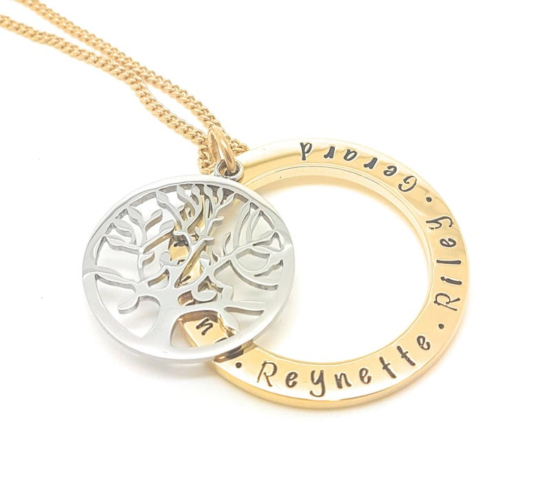 Customise personal Family Necklace Hand Stamped Gold Names necklace with large tree of life charm Coorabell Crafts Gift Box Included,