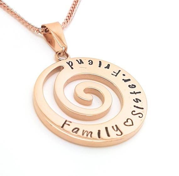 Spiral   Wave necklace   Beach gift   nature gifts   rose gold   Unique Gift   personalised necklace   Fern   Hand Stamped   Personalised