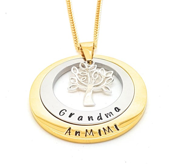 Layered Family Names Tree of Life Pendant Personalised Jewellery Hand Stamped Name Necklaces Gold Family Name Pendants Gift Australia