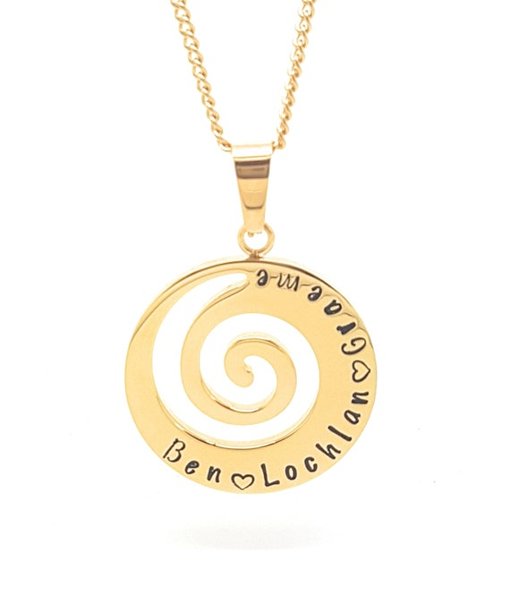 Spiral | Wave necklace | Beach gift | nature gifts |  gold | Unique Gift | personalised necklace | Fern | Hand Stamped | Personalised