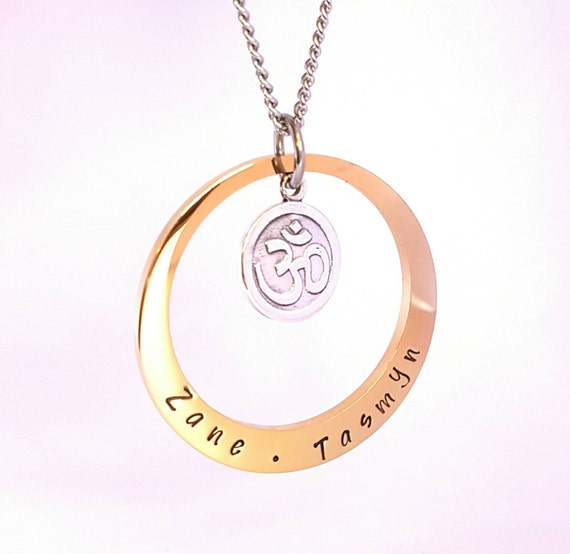 Hand Stamped Gold Names necklace with sterling om charm, Customise personal Family Necklace