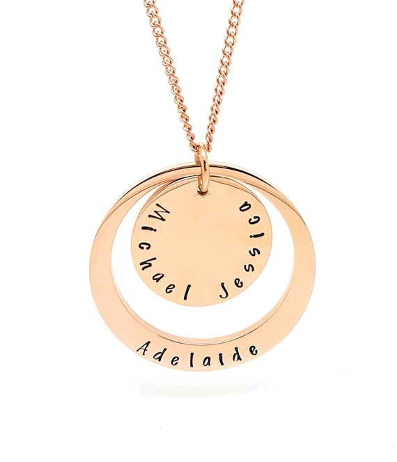 Rose Gold Personalised family names pendant, two rings handstamped with your custom text, necklace and gift box included.