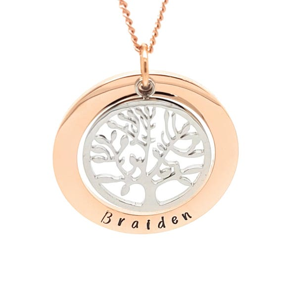 Rose Gold and Silver Family Tree of Life