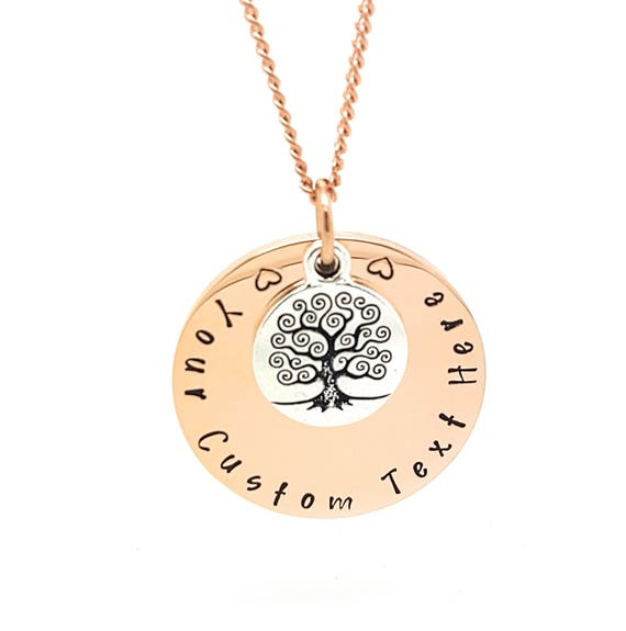 Rose Gold Tree of Life pendant with your custom text engraved / Hand Stamped. Personalised gift with Gift box included.  Surgical steel