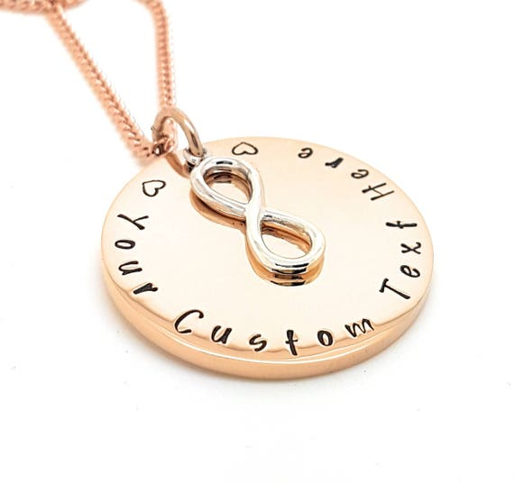 Rose Gold Pendant with stunning infinity charm in Sterling Silver, customise with your text, engraved / Hand Stamped. Gift Idea