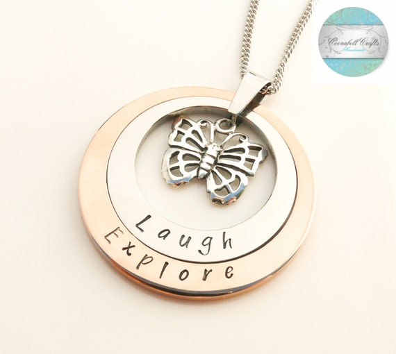 Layered Butterfly Hand Stamped Rose Gold and Silver Necklace Hand Stamped Name Necklace. Custom made with you own names.