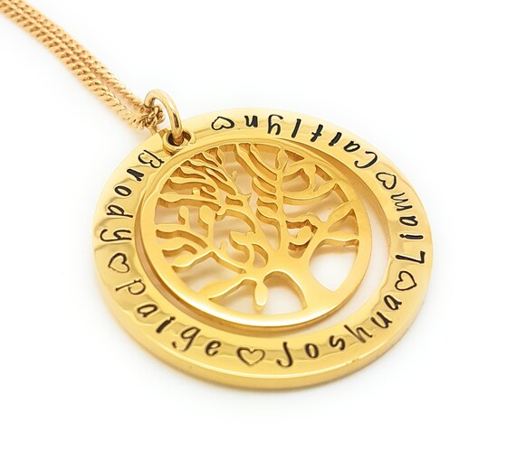 Grandchildren Jewellery, Gift for Nanna, Family Names necklace Gold circle tree pendant