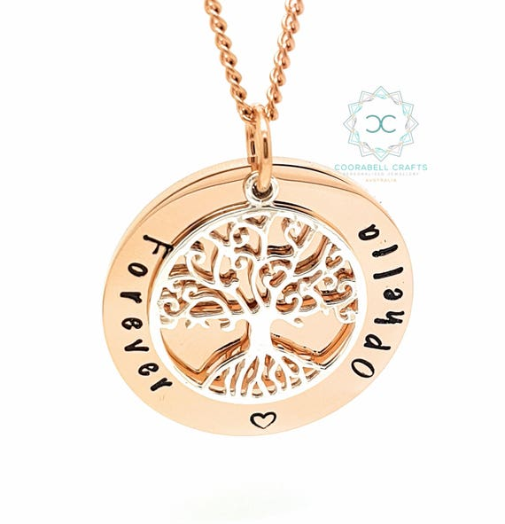 Personalised Family Names Necklace Rose Gold and Sterling Silver Tree of Life. Made to Order. Hand Stamped