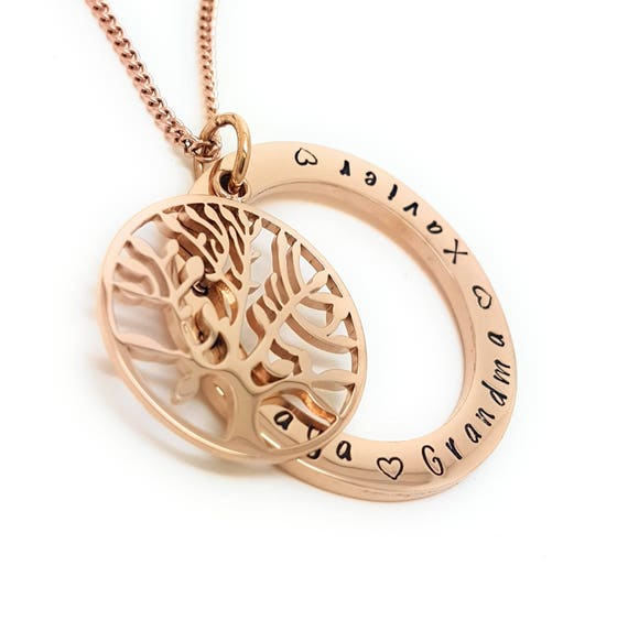 Personalised Jewellery, Personalised Necklace, Family Necklace, Hand Stamped Rose Gold Tree of Life Pendant with Gift Box