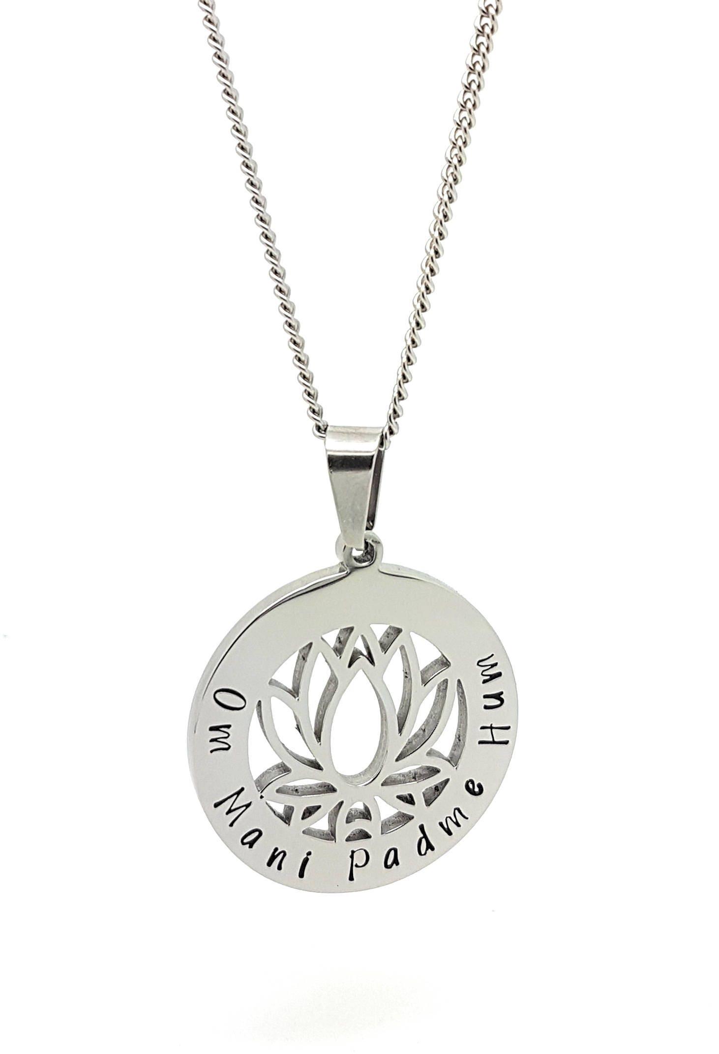 Lotus Flower Pendant Silver Om Mani Padme Hum Personalised Pendant