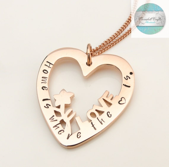 Personalised Jewellery, Personalised Necklace, Family Necklace, Hand Stamped Rose Gold Heart Pendant, Gift for Mum,  Family Pendant