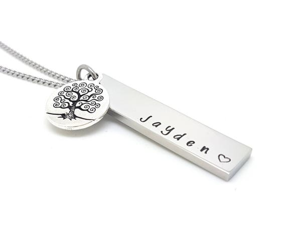 Rectangle Bar Names Family Necklace Antique Silver Tree of Life Charm, Customised with Own Names. Family Necklace Hand Stamped / Engraved