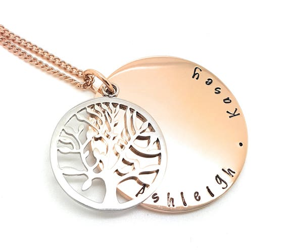 Rose Gold and Sterling Silver Tree of Life Personalised Family Names Necklace. Made to Order. Hand Stamped