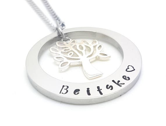 Silver Tree of Life  Hand Stamped Names necklace tree charm, Customise personal Family Necklace | Girls necklace | custom made | bridesmaide
