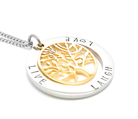 Coorabell Crafts Live Laugh Love pendant with Silver circle and Gold Tree of Life charm, includes stylish gift box