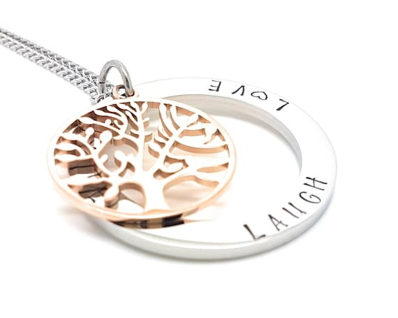 Family Names Tree of Life Pendant Silver and Rose Gold Personalised Jewellery Hand Stamped Name Necklaces Tree Life Gift Australia