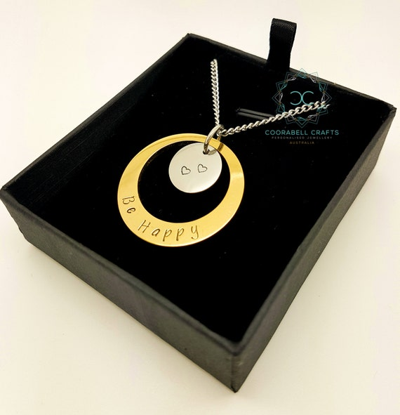 Personalised Hand Stamped Two toned Two disk Pendant, Family Necklace, Gold and Silver, For Mum, Personalised Gifts, Personalised necklace