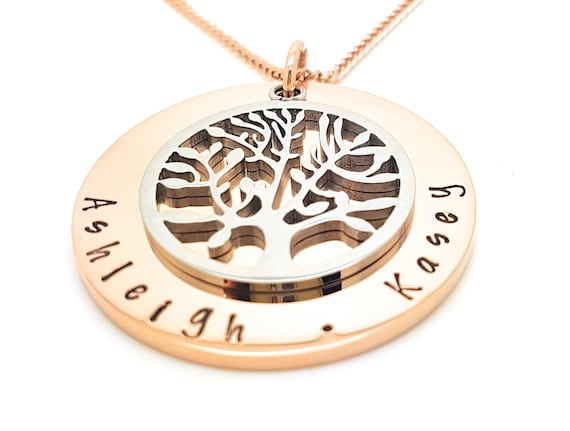 Tree of Life Personalised Jewellery Rose Gold and Silver