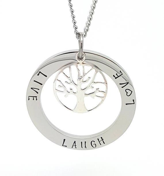 Personalised Jewellery, Personalised Necklace, Family Necklace,  Large Hand Stamped Silver Pendant with Sterling Silver Tree of Life Charm