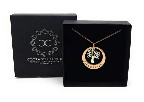 Rose Gold Personalized Necklace with Tree charm
