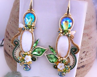 Soutaches earrings, mother of pearl, made in Italy, white green earrings, embroidery, crystals, drop in green crystal, long, pendant, OOAK