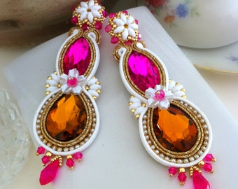 Bright crystal earrings, pink and orange soutache earrings, dangle earrings with pin, soutache jewelry, gift for her, OOAK