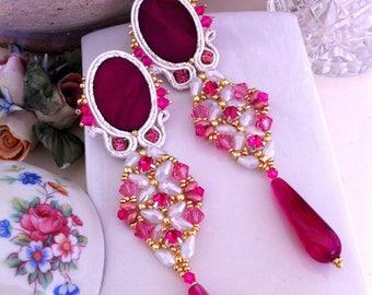 Pink soutache earrings, elegant earrings, long earrings with agate, formal earrings, soutache jewelry, gift for her, OOAK, mother of pearl