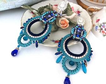 Blue soutache earrings, chic earrings, long hoop earrings, bright crystal earrings, embroidered jewelry, gift for her, birthday gift, OOAK