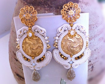 Soutaches Hoop earrings for bride, vintage maxi white earrings, soutaches jewelry, soutaches embroidery, gift for you, OOAK