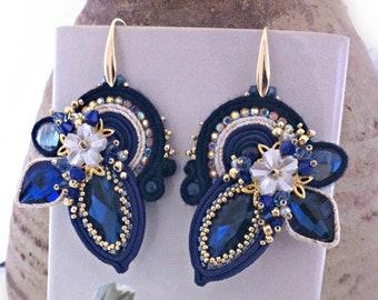 Blue soutache earrings, elegant earrings, crystal dangle earrings, formal earrings, soutache jewelry, gift for her, OOAK, STATEMENT JEWELRY